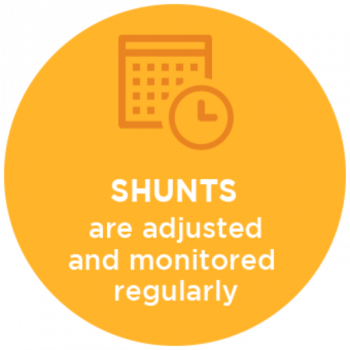 Shunts are Adjusted and Monitored Regularly