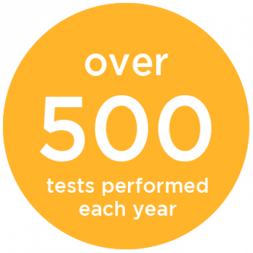 Over 500 test performed each year.