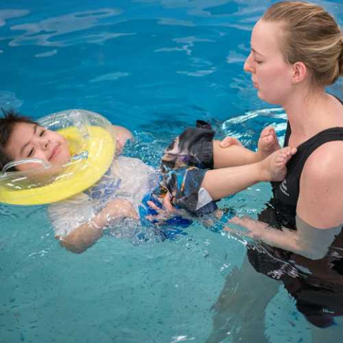 Gillette patient during aquatic pool therapy with Gillette physical therapist