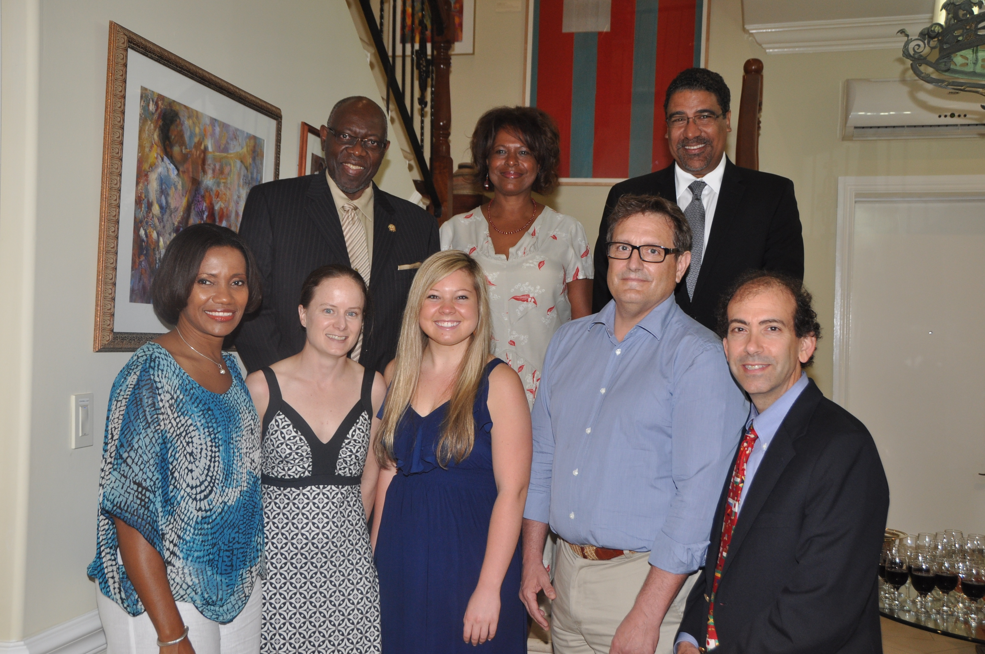Mark Gormley, M.D. (far right) pictured the U.S. Ambassador to Jamaica, Jamaica's Minister of Health and Minister of Tourism, along with fellow volunteers.