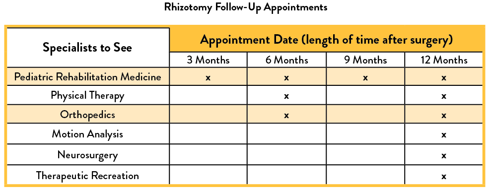 Rhizotomy Follow-Up Appointment Schedule