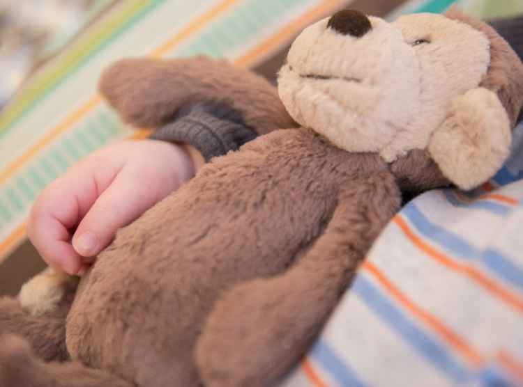 Child with hand around teddy bear during hospital stay at Gillette Children's Specialty healthcare