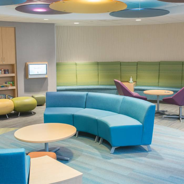 Waiting area at Gillette Children's St. paul campus
