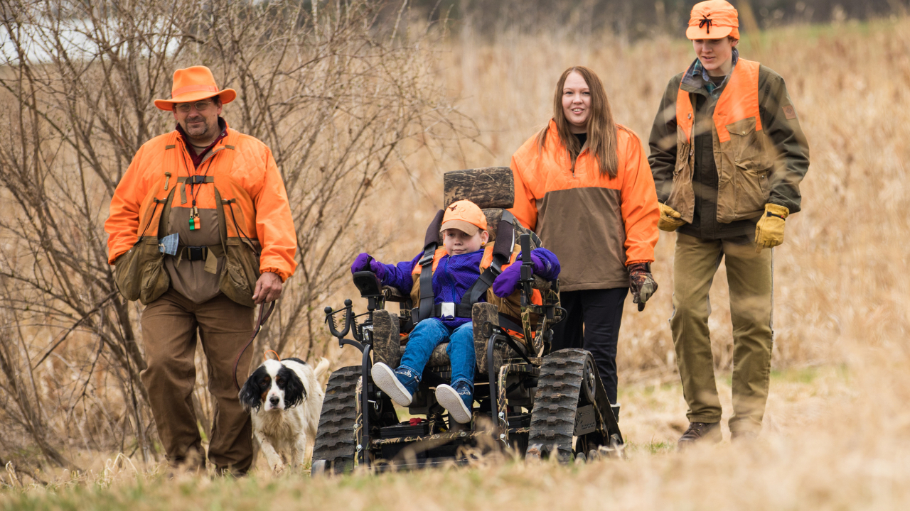 gillette spina bifida patient Hailey hunting with family