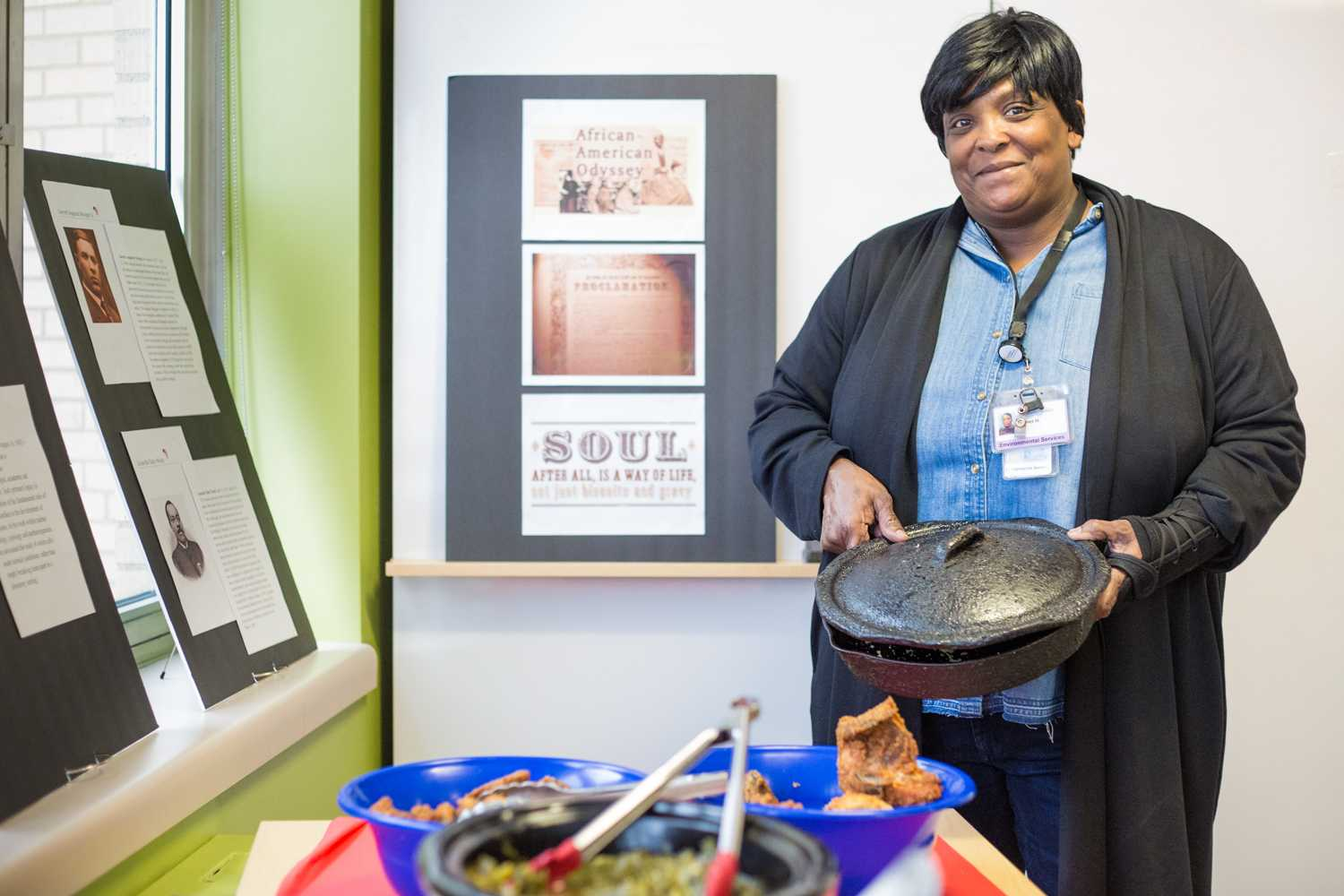 Janet Horton proudly holds her grandmother's skillet.