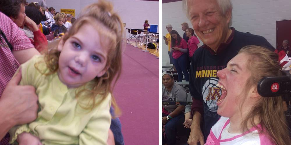 Cassidy and her grandpa at UMN volleyball game