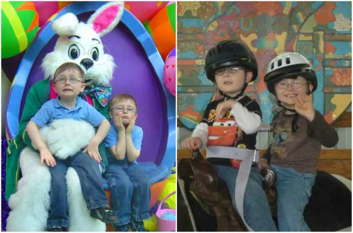 Joshua and Tyler as young children, on Easter and during horse therapy