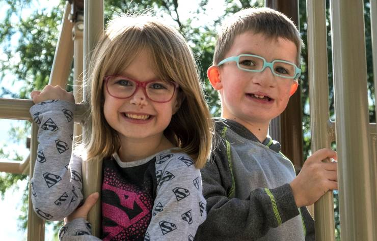 Gillette patient Elliot with his sister Amelia at playground