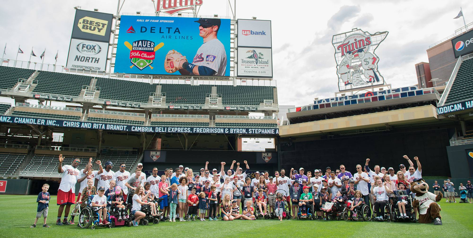 View of attendees at 2017 Mauer Kids Classic on Target Field.