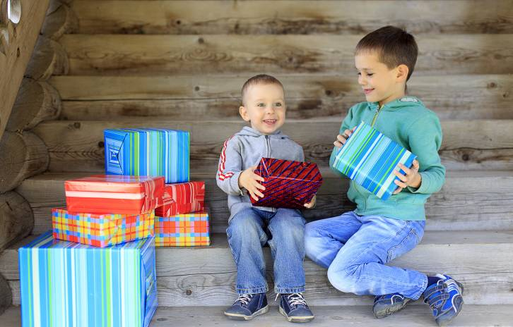 Children looking at presents