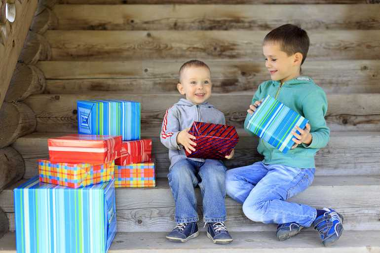 Gift Ideas - boys opening presents