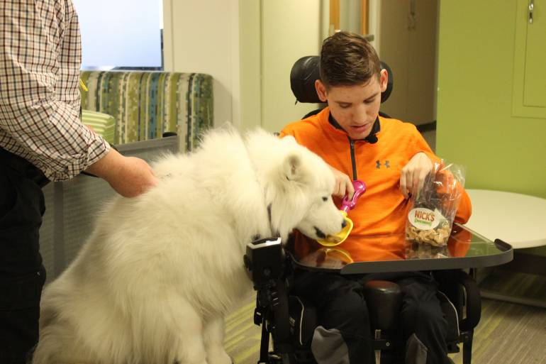 Gillette patient Nick, feeding Gillette therapy dog, Sara, fresh baked dog treats