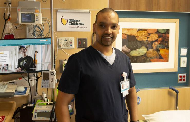 Hakeem Abdulwahab posing in one of our patient rooms