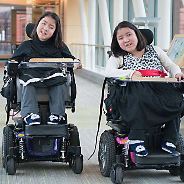 Gillette neuromuscular disease patients Kiara and Keisy
