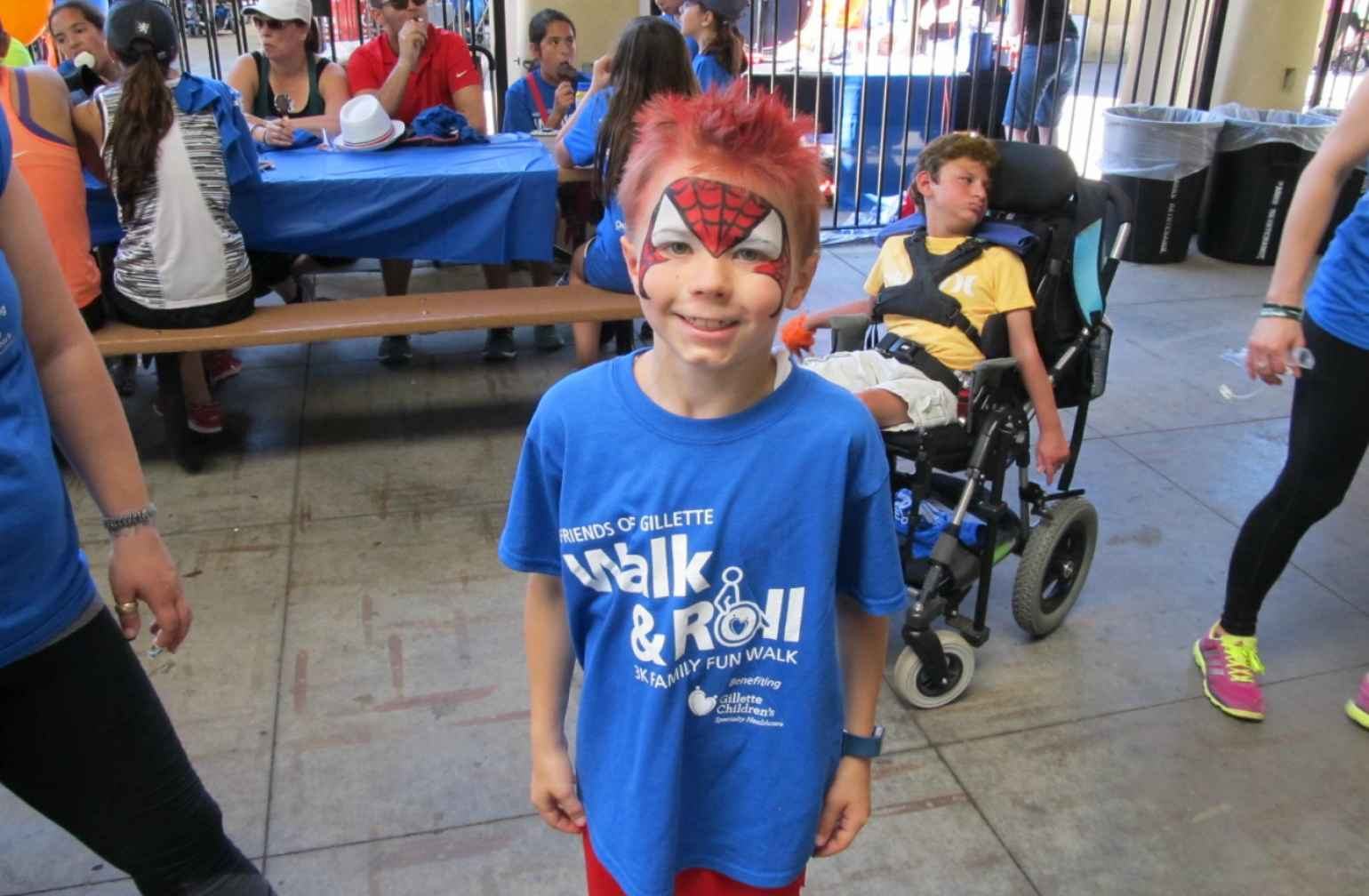 Walk and Roll boy with face paint