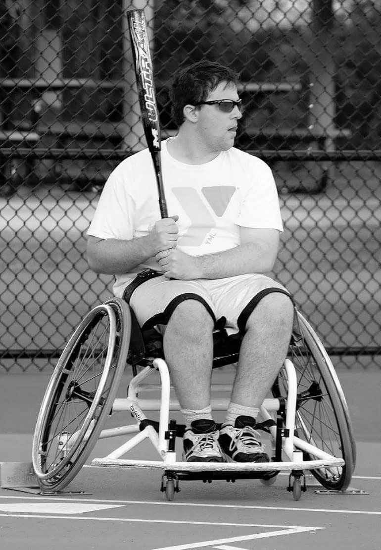 Jefferey Garten is a member of the Minnesota Flamethrowers wheelchair softball team.