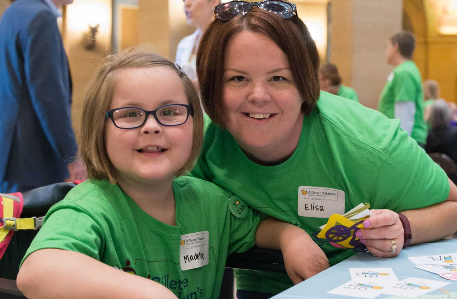 gillette patient poses with mom during capitol day