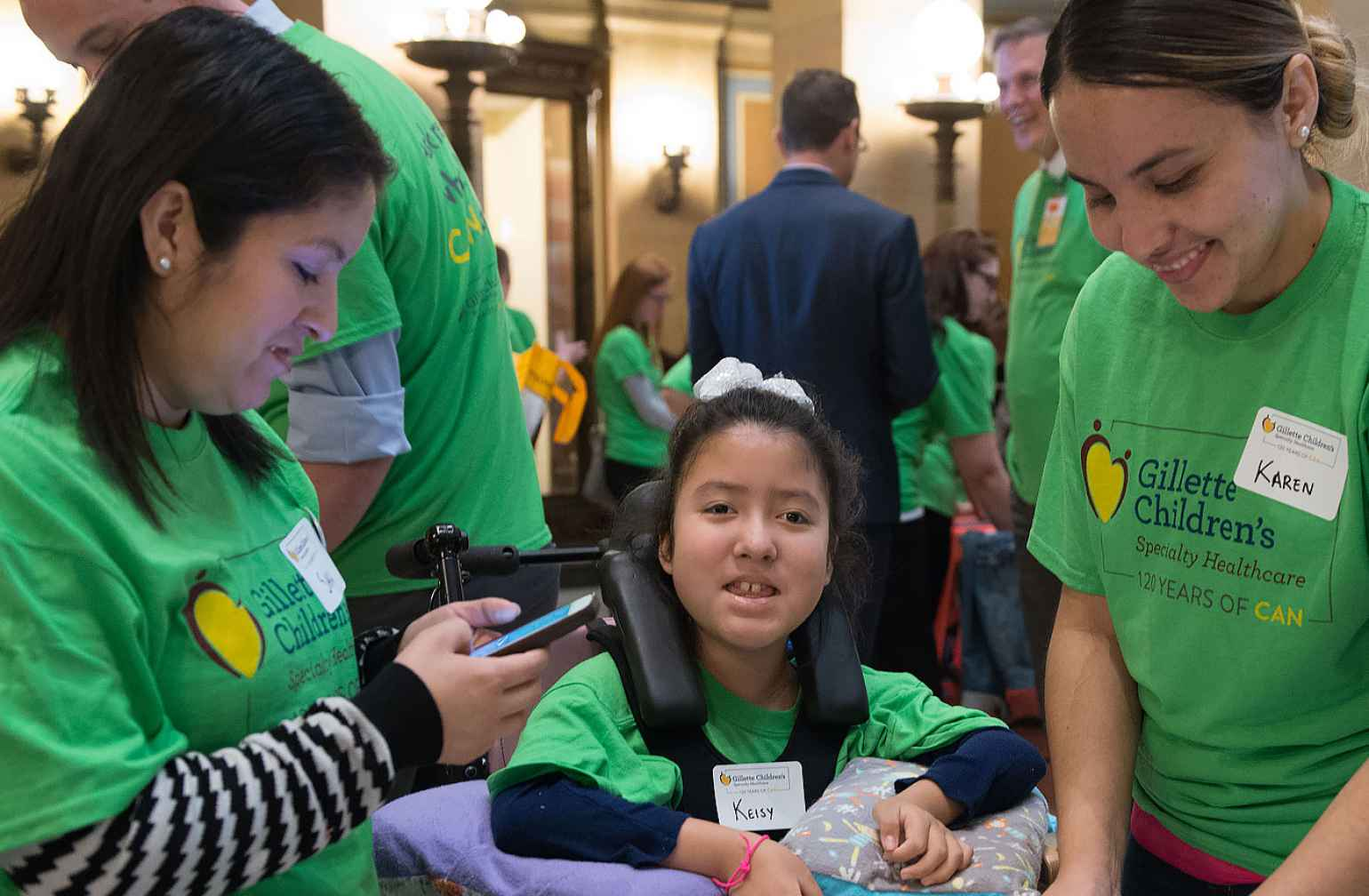 Gillette patient with her family during Capitol day