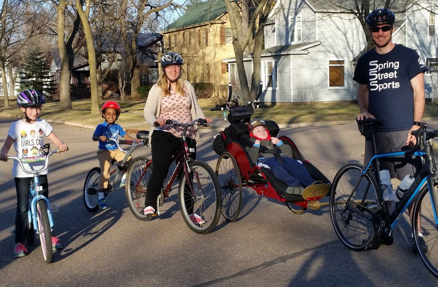 jeffrey biking with his family