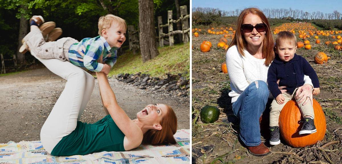 Gillette therapeutic rec specialist Kaitlyn with son in pumpkin patch