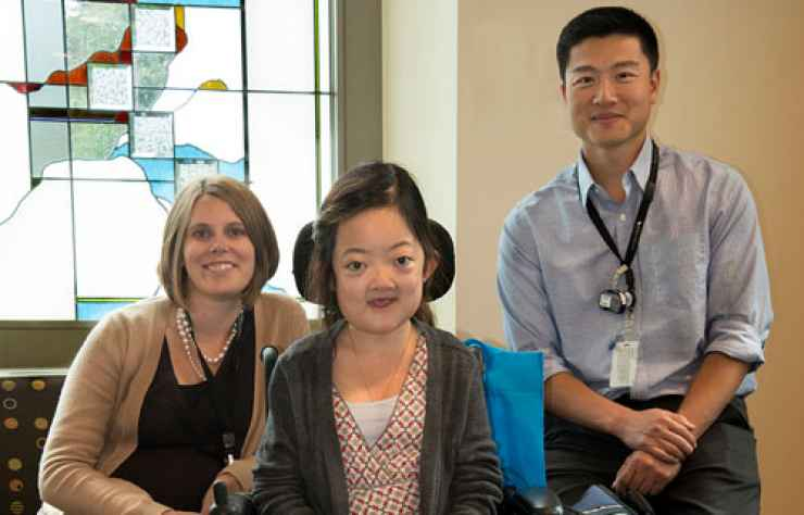 Uyen is pictured with her Gillette mentors, clinical scientist Susan Novotny, Ph.D. and Walter Truong, M.D.