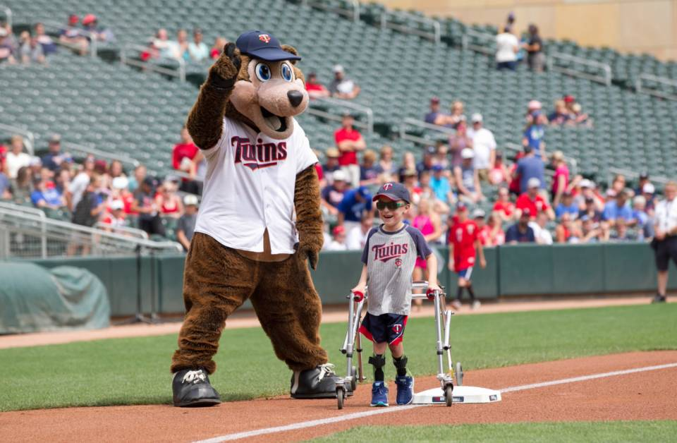 Wes running the bases during MN Twins game