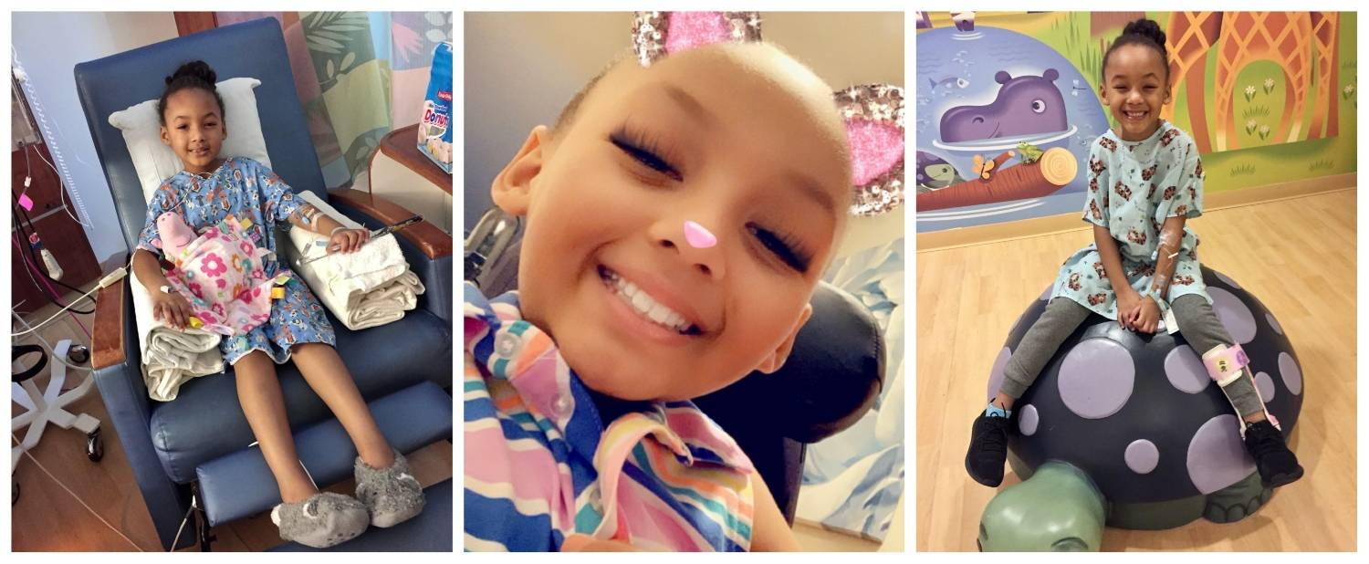 A collage of photos of Za'Nii in her early appointments