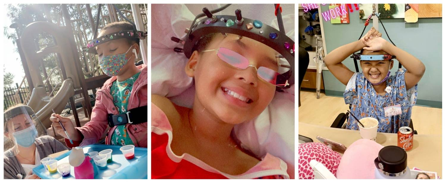 A collage of photos of Za'Nii beginning treatment at Gillette