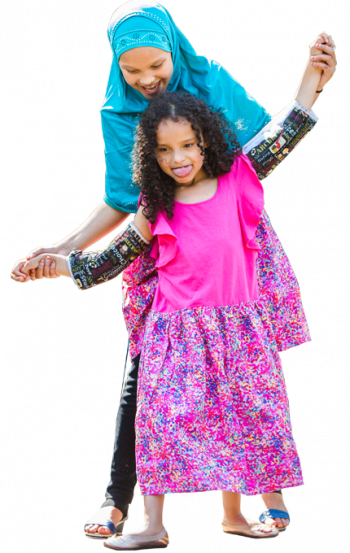 Gillette patient Amatullah, who has Rett syndrome, and her sister