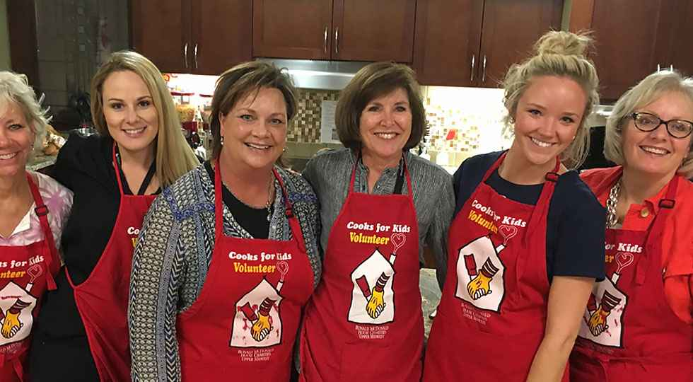 cooks for kids ronald mcdonald house volunteers at Gillette children's family room.