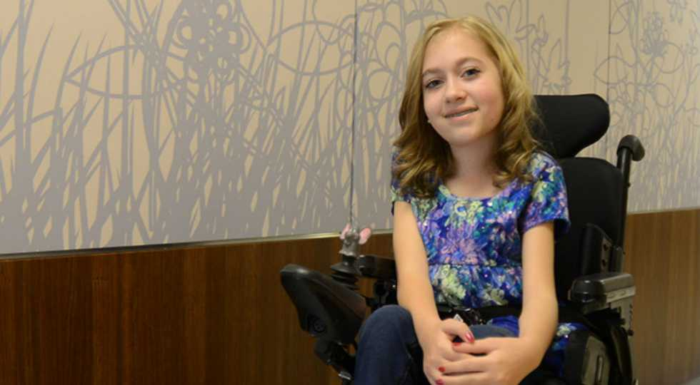 Jessica, Gillette Children's Specialty Healthcare patient who has spinal muscular atrophy.
