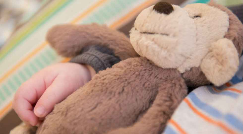child hand holding teddy bear, ways to prepare and comfort your child