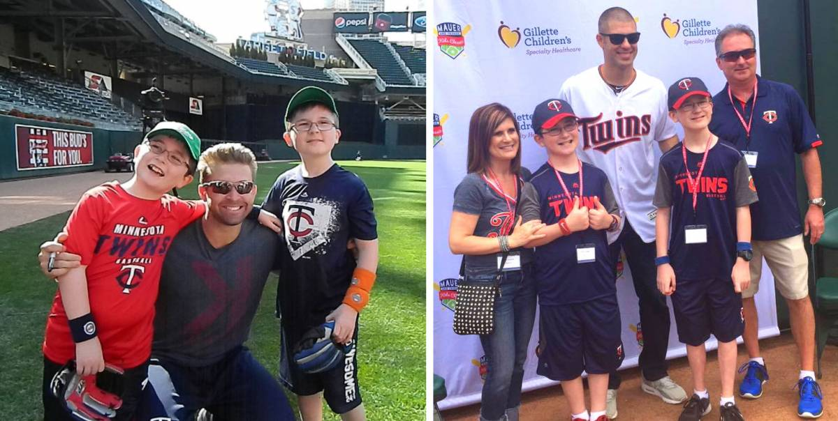 the lindgren family with Brian Dozier and Joe Mauer