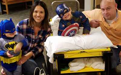 Brock and his family celebrated Halloween at Gillette after his rhizotomy surgery.