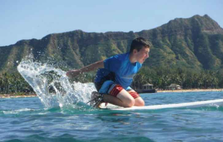 Donovan Bohn surfing on Waikiki Beach