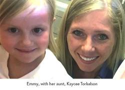 Emmy, with her aunt, Kaycee Torkelson