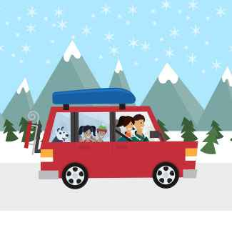 A family traveling in a car to see friends and family for the holidays.