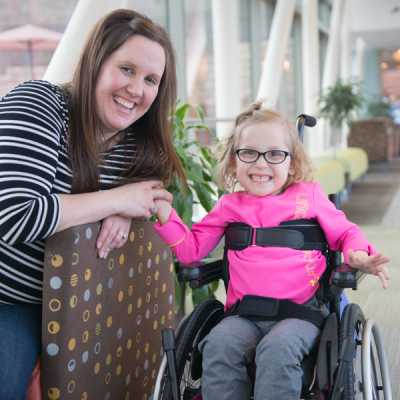 Kaidyn and her mom travel from their home in Wisconsin for weekly physical therapy.