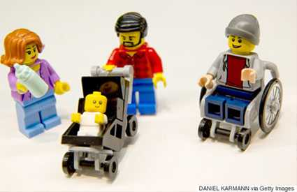 LEGO toy figure that uses a wheelchair