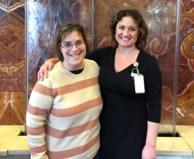 Samantha, who has cerebral palsy, is pictured with her favorite nurse, Jessie Brunotte RN.