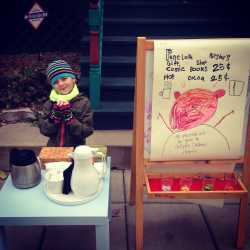 Penelope Deignan and her hot cocoa stand