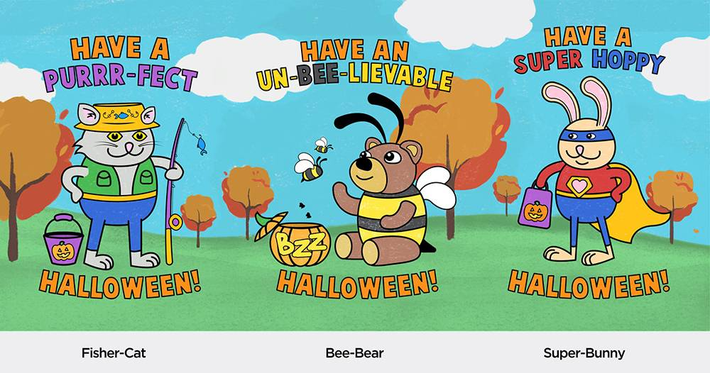 three animals in costumes ready to go trick or treating for halloween. A cat in a fishing outfit, a bear dressed like a bee, and a bunny with super hero gear on.