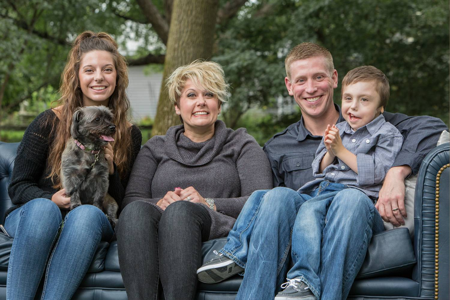 Bentley with (from left) his sister, Kennedy; his mom, Kris; and his dad, Nathan.