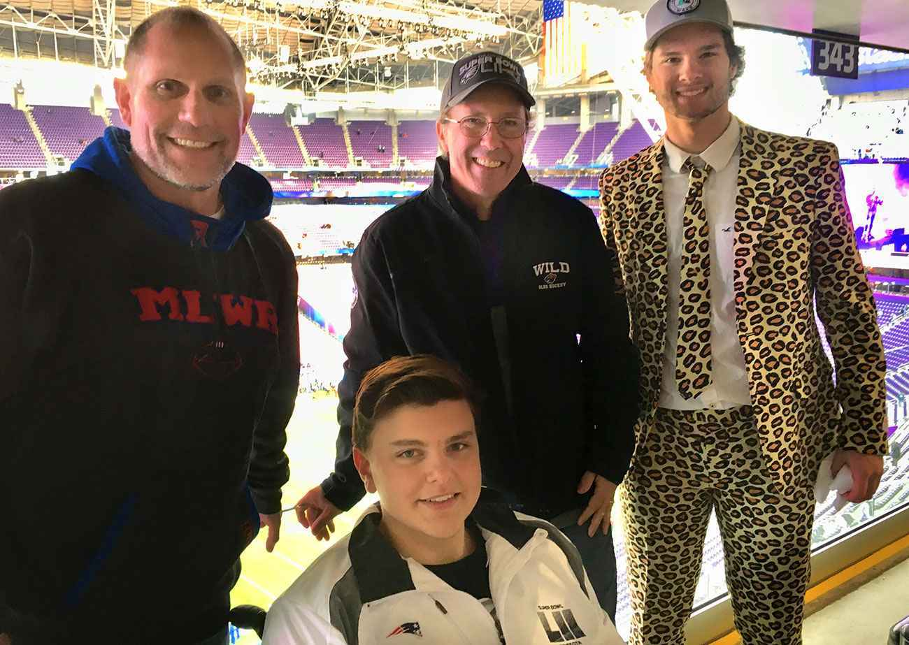 Danny, his dad, brother and football coach at Super Bowl LII.