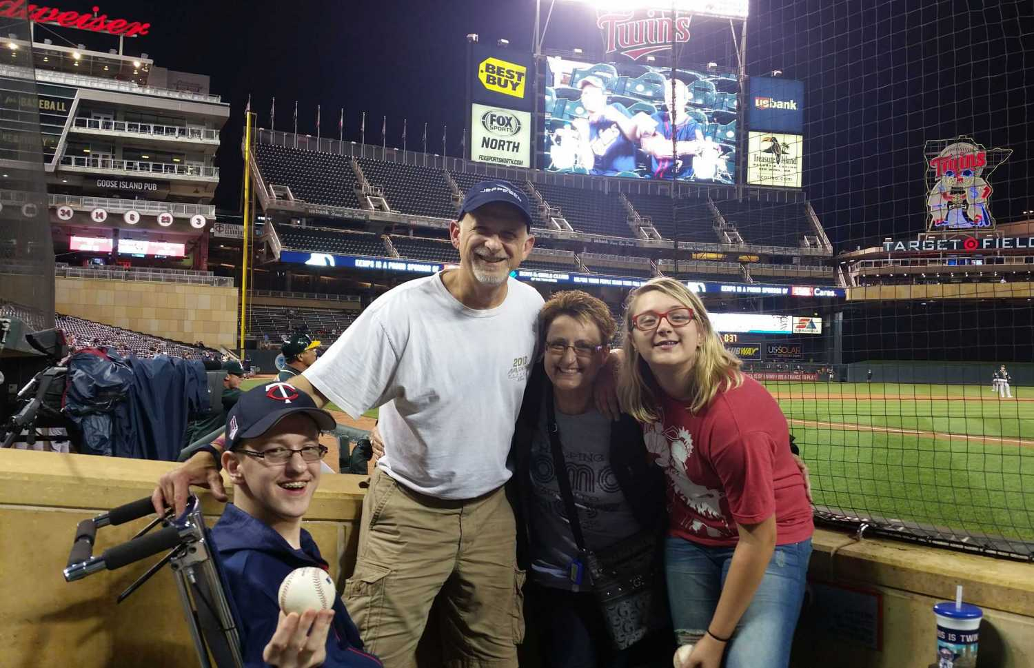 Connor and his family at his first Twins game.